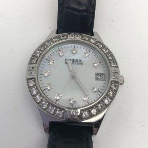 Fossil Leather Watch Rhinestone Iridescent Dial